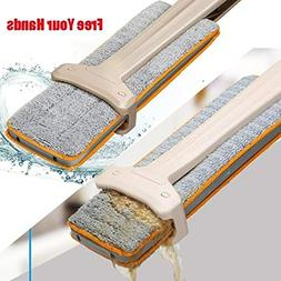 Mops - Useful Double-Side Flat Mop Hands-Free Washable Mop H